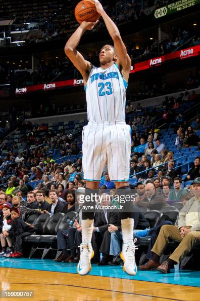 Anthony Davis of the New Orleans Hornets shoots against the San Antonio Spurs on January 7 2013 at the New Orleans Arena in New Orleans Louisiana...