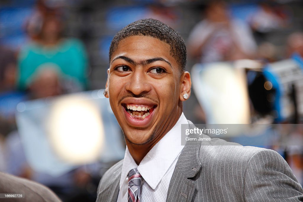 Anthony Davis #23 of the New Orleans Hornets smiles before the game against the Dallas Mavericks on April 17, 2013 at the American Airlines Center in Dallas, Texas.