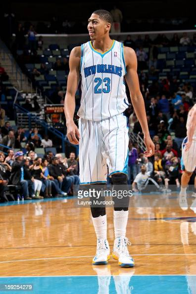 Anthony Davis of the New Orleans Hornets smiles during a game against the San Antonio Spurs on January 7 2013 at the New Orleans Arena in New Orleans...