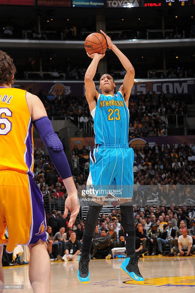 Anthony Davis #23 of the New Orleans Hornets takes a shot against the Los Angeles Lakers at Staples Center on January 29, 2013 in Los Angeles, California.