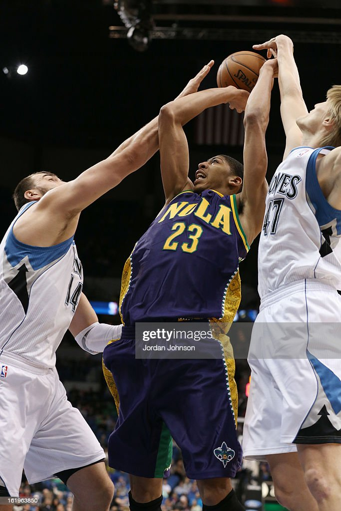 Anthony Davis #23 of the New Orleans Hornets takes a shot against the Minnesota Timberwolves on February 2, 2013 at Target Center in Minneapolis, Minnesota.