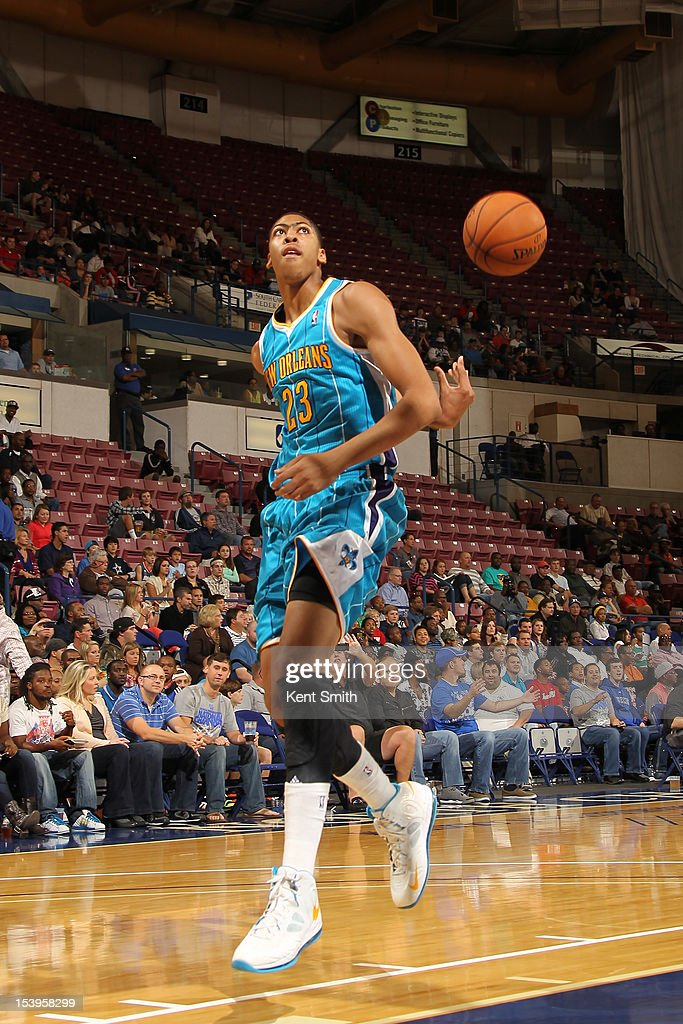 Anthony Davis #23 of the New Orleans Hornets takes a shot behind his back during the game against the Charlotte Bobcats at the North Charleston Coliseum on October 11, 2012 in North Charleston, South Carolina.