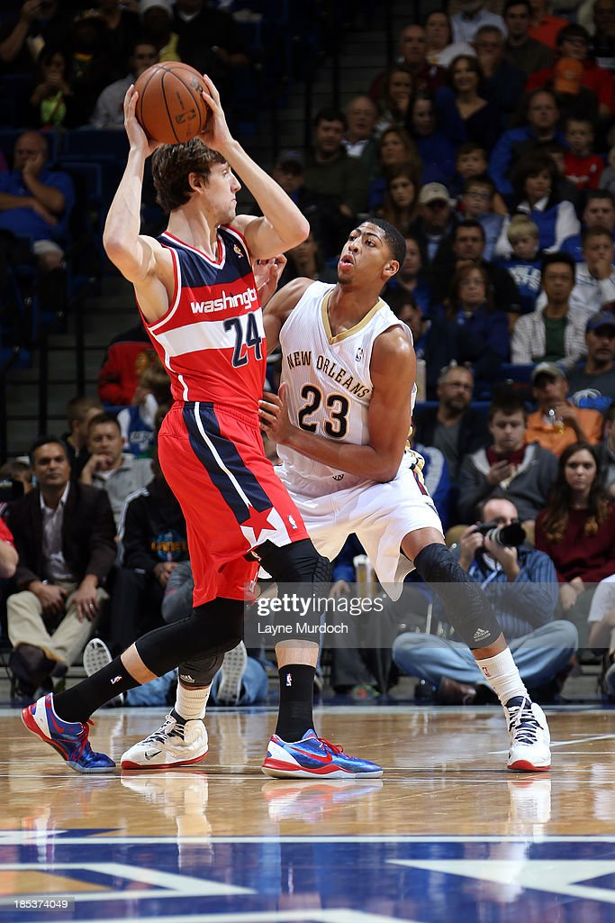 Anthony Davis #23 of the New Orleans Pelicans and University of Kentucky alum defends <a gi-track='captionPersonalityLinkClicked' href=/galleries/search?phrase=Jan+Vesely&family=editorial&specificpeople=5620499 ng-click='$event.stopPropagation()'>Jan Vesely</a> #24 the Washington Wizards during an NBA game on October 19, 2013 at Rupp Arena in Lexington, Kentucky.