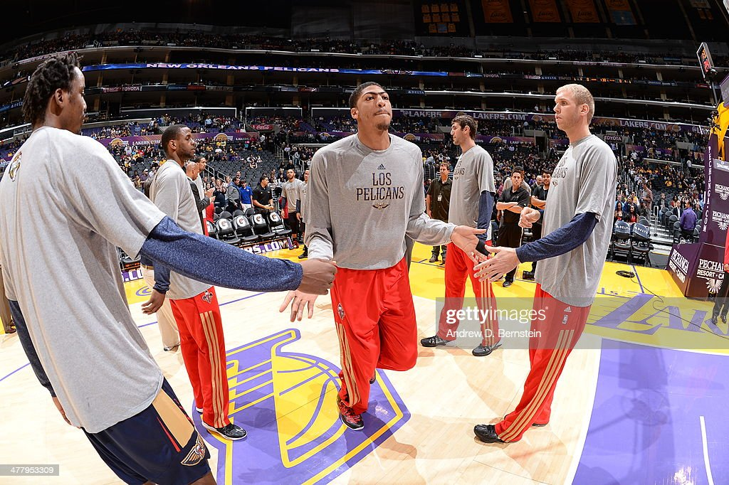 Anthony Davis #23 of the New Orleans Pelicans before a game against the Los Angeles Lakers at Staples Center on March 4, 2014 in Los Angeles, California.