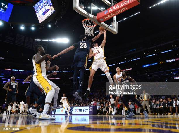 Anthony Davis of the New Orleans Pelicans blocks a layup by Lonzo Ball of the Los Angeles Lakers during thesecodn half at Staples Center October 22...