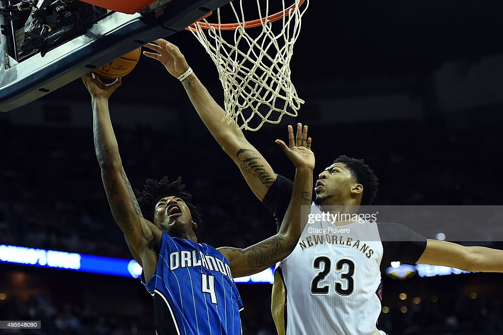 Anthony Davis #23 of the New Orleans Pelicans blocks a shot by Elfrid Payton #4 of the Orlando Magic during the second half of a game at the Smoothie King Center on November 3, 2015 in New Orleans, Louisiana.