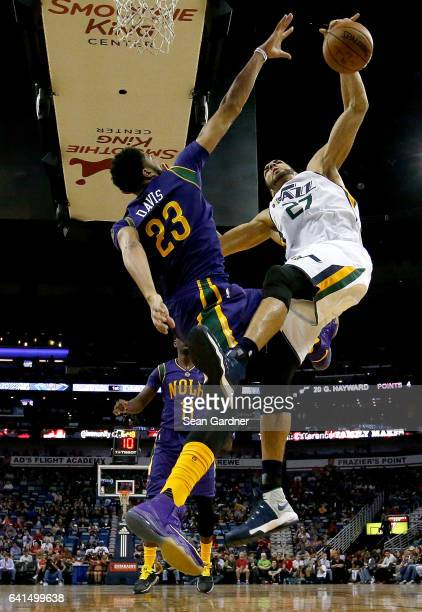 Anthony Davis of the New Orleans Pelicans blocks Rudy Gobert of the Utah Jazz during a game at the Smoothie King Center on February 8 2017 in New...