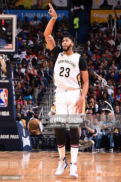 Anthony Davis of the New Orleans Pelicans celebrates during a game against the Golden State Warriors at Smoothie King Center on October 28 2016 in...