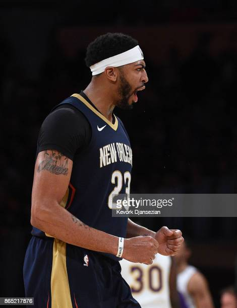 Anthony Davis of the New Orleans Pelicans celebrates during the second half against Los Angeles Lakers at Staples Center October 22 2017 in Los...