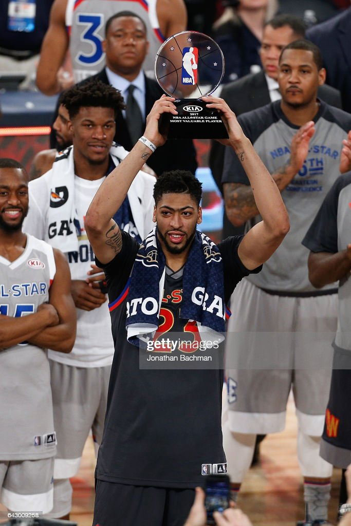 Anthony Davis #23 of the New Orleans Pelicans celebrates with the 2017 NBA All-Star Game MVP trophy after the 2017 NBA All-Star Game at Smoothie King Center on February 19, 2017 in New Orleans, Louisiana.