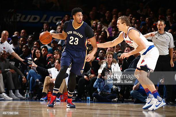 Anthony Davis of the New Orleans Pelicans defends the ball against the New Orleans Pelicans during the game on November 15 2015 at Madison Square...