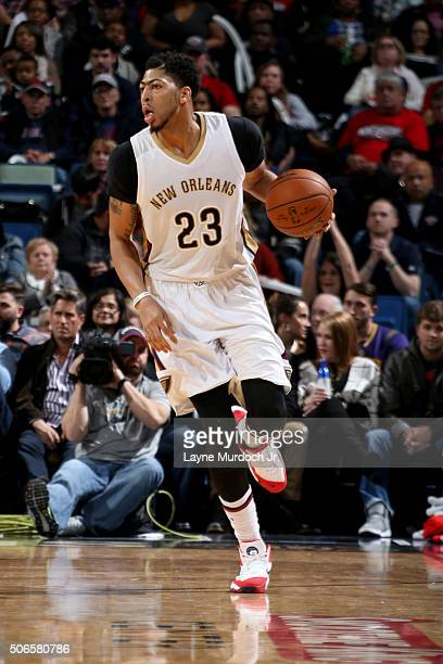 Anthony Davis of the New Orleans Pelicans dribbles against the Milwaukee Bucks on January 23 2016 at the Smoothie King Center in New Orleans...