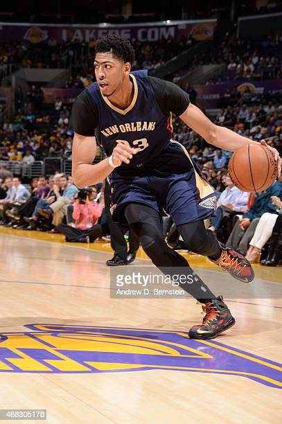Anthony Davis of the New Orleans Pelicans drives against the Los Angeles Lakers during the game at STAPLES Center on April 1 2015 in Los Angeles...