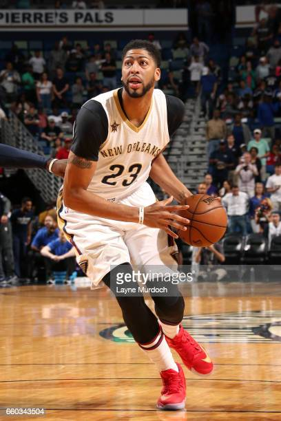Anthony Davis of the New Orleans Pelicans drives to the basket during the game against the Dallas Mavericks on March 29 2017 at the Smoothie King...