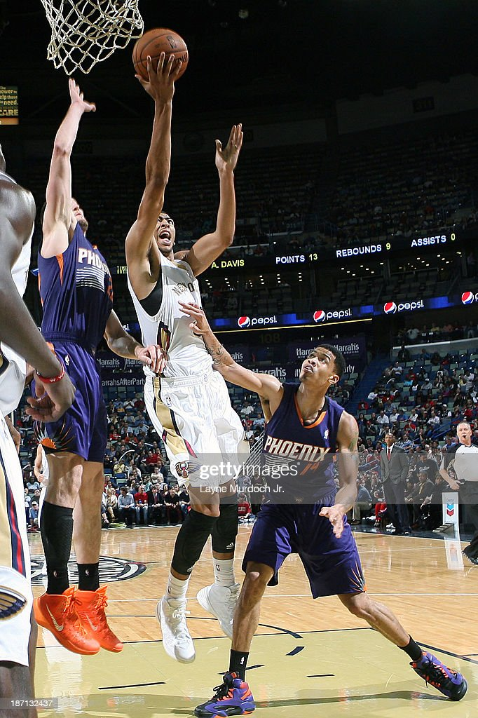 Anthony Davis #23 of the New Orleans Pelicans drives to the basket against the Phoenix Suns on November 5, 2013 at the New Orleans Arena in New Orleans, Louisiana.