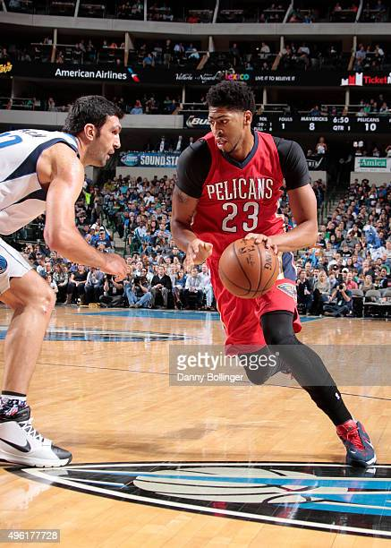 Anthony Davis of the New Orleans Pelicans drives to the basket against the Dallas Mavericks during the game on November 7 2015 at the American...