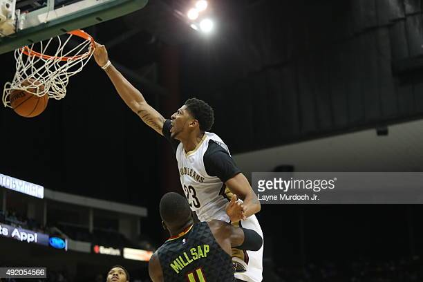 Anthony Davis of the New Orleans Pelicans dunks against the Atlanta Hawks during a preseason game on October 9 2015 at the Jacksonville Veterans...