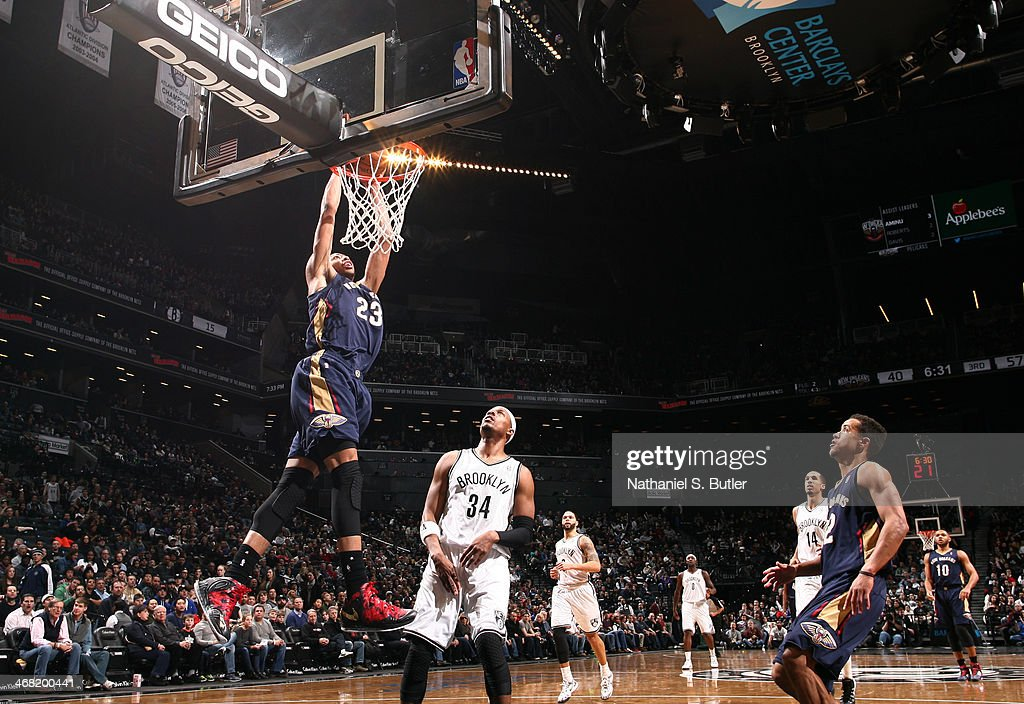 Anthony Davis #23 of the New Orleans Pelicans dunks against the Brooklyn Nets during a game at the Barclays Center on February 9, 2014 in the Brooklyn borough of New York City.