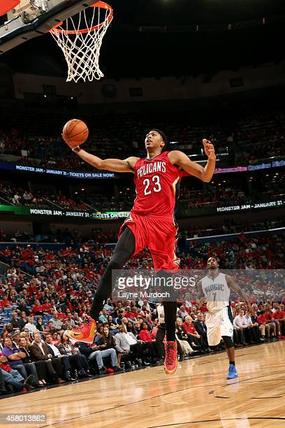 Anthony Davis of the New Orleans Pelicans dunks against the Orlando Magic on October 28 2014 at Smoothie King Center in New Orleans LA NOTE TO USER...