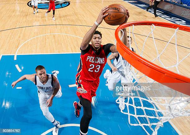 Anthony Davis of the New Orleans Pelicans dunks the ball against the Dallas Mavericks on January 2 2016 at the American Airlines Center in Dallas...