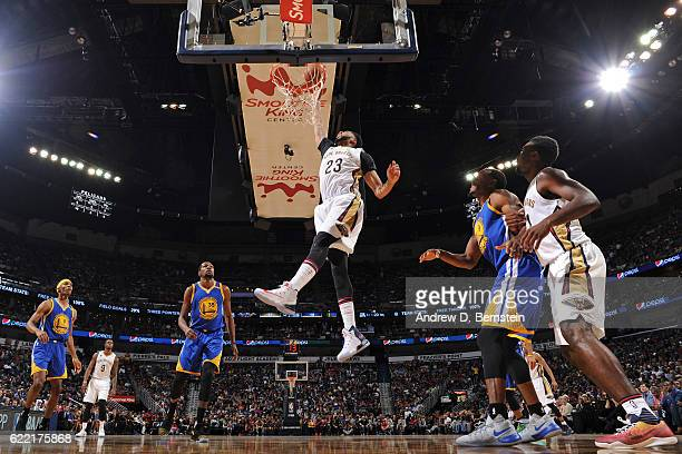 Anthony Davis of the New Orleans Pelicans dunks the ball during a game against the Golden State Warriors at Smoothie King Center on October 28 2016...