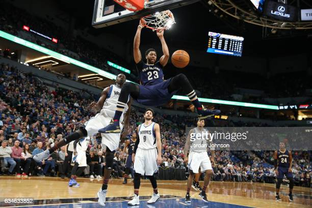 Anthony Davis of the New Orleans Pelicans dunks the ball during a game against the Minnesota Timberwolves on February 10 2017 at Target Center in...