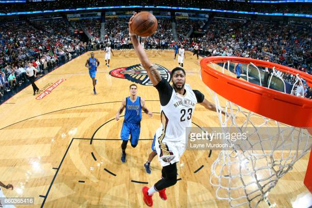 Anthony Davis of the New Orleans Pelicans dunks the ball during the game against the Dallas Mavericks on March 29 2017 at the Smoothie King Center in...
