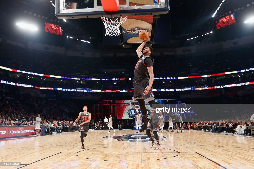 Anthony Davis #23 of the New Orleans Pelicans dunks the ball in the first half of the 2017 NBA All-Star Game at Smoothie King Center on February 19, 2017 in New Orleans, Louisiana.