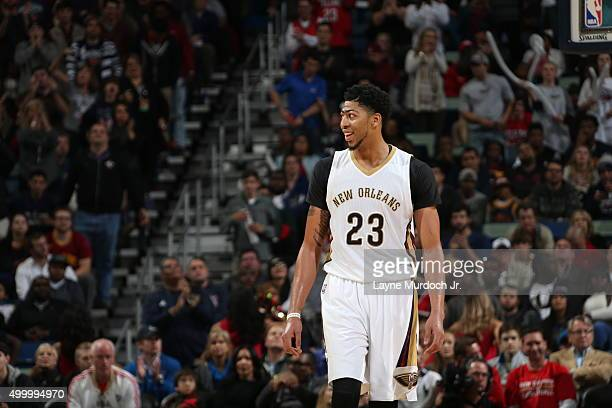 Anthony Davis of the New Orleans Pelicans during the game against the Cleveland Cavaliers on December 4 2015 at the Smoothie King Center in New...