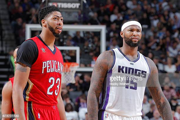 Anthony Davis of the New Orleans Pelicans faces off against DeMarcus Cousins of the Sacramento Kings on November 8 2016 at Golden 1 Center in...