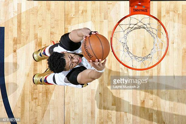 Anthony Davis of the New Orleans Pelicans goes for the layup against the Golden State Warriors during Game Four of the Western Conference...