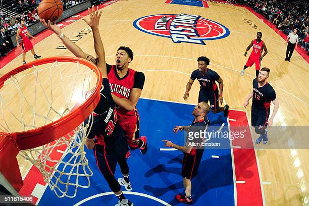 Anthony Davis of the New Orleans Pelicans goes for the layup during the game against the Detroit Pistons on February 21 2016 at The Palace of Auburn...