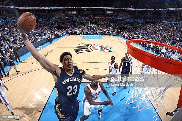 Anthony Davis of the New Orleans Pelicans goes up for a dunk against the Oklahoma City Thunder during the game on February 6 2015 at Chesapeake...