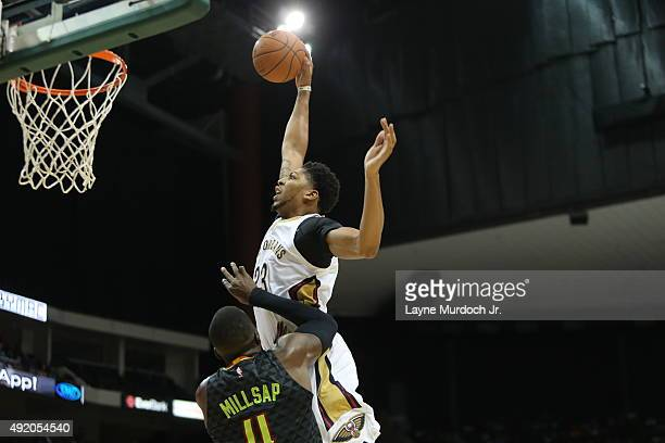 Anthony Davis of the New Orleans Pelicans goes up for a dunk against the Atlanta Hawks during a preseason game on October 9 2015 at the Jacksonville...