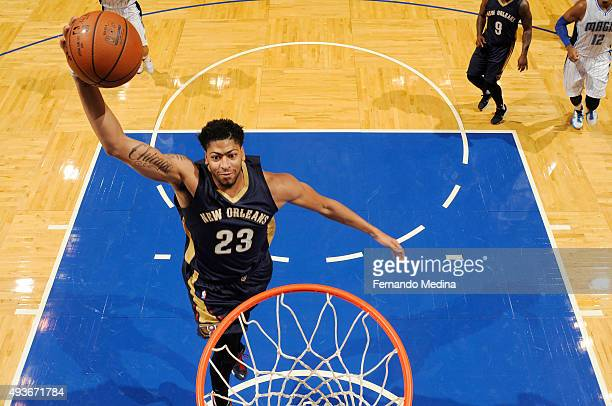 Anthony Davis of the New Orleans Pelicans goes up for a dunk against the Orlando Magic during a preseason game on October 21 2015 at Amway Center in...