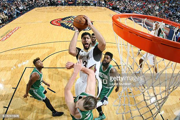 Anthony Davis of the New Orleans Pelicans goes up for a lay up during the game against the Boston Celtics on November 14 2016 at Smoothie King Center...