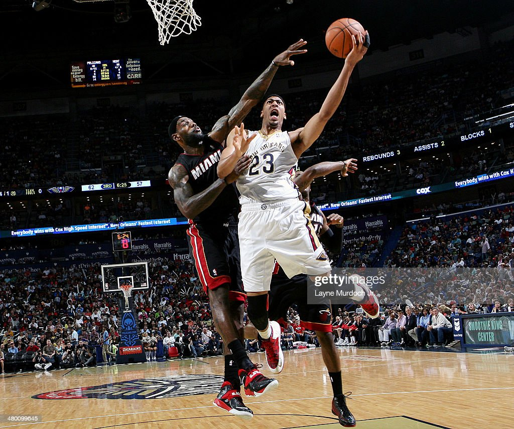 Anthony Davis #23 of the New Orleans Pelicans goes up for a shot against the Miami Heat on March 22, 2014 at the Smoothie King Center in New Orleans, Louisiana.