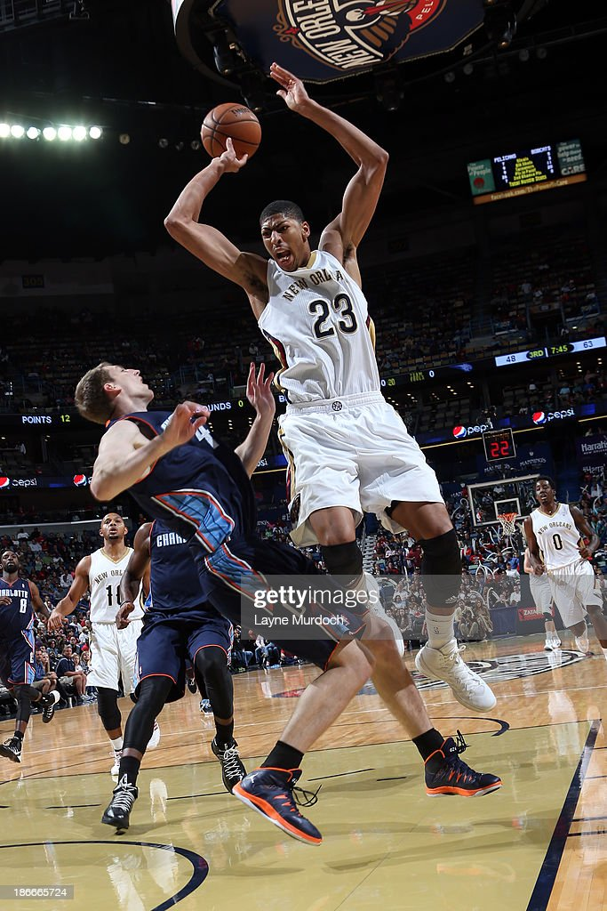 Anthony Davis #23 of the New Orleans Pelicans grabs a rebound against <a gi-track='captionPersonalityLinkClicked' href=/galleries/search?phrase=Cody+Zeller&family=editorial&specificpeople=7621233 ng-click='$event.stopPropagation()'>Cody Zeller</a> #40 of the Charlotte Bobcats on November 2, 2013 at the New Orleans Arena in New Orleans, Louisiana.