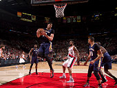 Anthony Davis of the New Orleans Pelicans grabs a rebound against the Portland Trail Blazers on April 4 2015 at the Moda Center Arena in Portland...