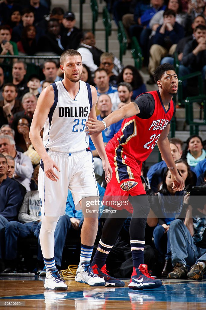 Anthony Davis of the New Orleans Pelicans guards against Chandler Parsons of the Dallas Mavericks on January 2 2016 at the American Airlines Center...