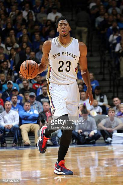 Anthony Davis of the New Orleans Pelicans handles the ball against the Sacramento Kings during a preseason game on October 17 2015 at Rupp Arena in...
