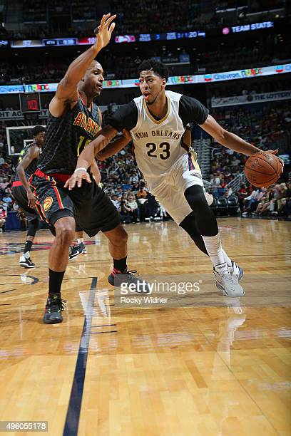Anthony Davis of the New Orleans Pelicans handles the ball against the Atlanta Hawks on November 6 2015 at Sleep Train Arena in Sacramento California...