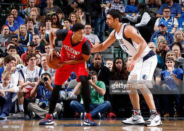 Anthony Davis of the New Orleans Pelicans handles the ball against the Dallas Mavericks during the game on November 7 2015 at the American Airlines...