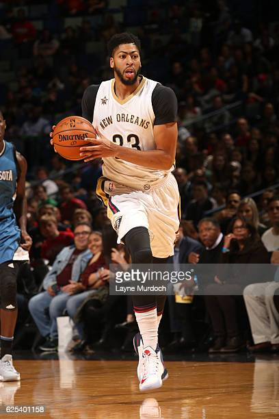 Anthony Davis of the New Orleans Pelicans handles the ball against the Minnesota Timberwolves on November 23 2016 at the Smoothie King Center in New...