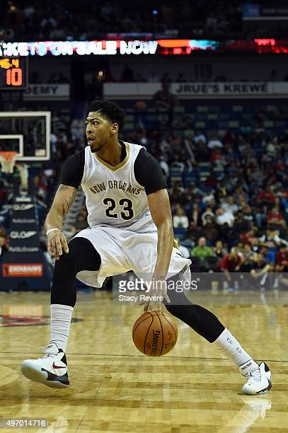 Anthony Davis of the New Orleans Pelicans handles the ball during a game against the Dallas Mavericks at the Smoothie King Center on November 10 2015...