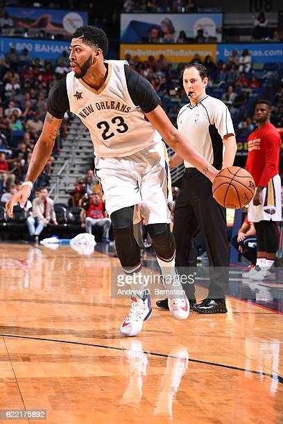 Anthony Davis of the New Orleans Pelicans handles the ball during a game against the Golden State Warriors at Smoothie King Center on October 28 2016...