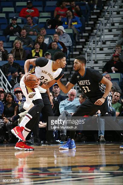 Anthony Davis of the New Orleans Pelicans handles the ball during the game against KarlAnthony Towns of the Minnesota Timberwolves on January 19 2016...