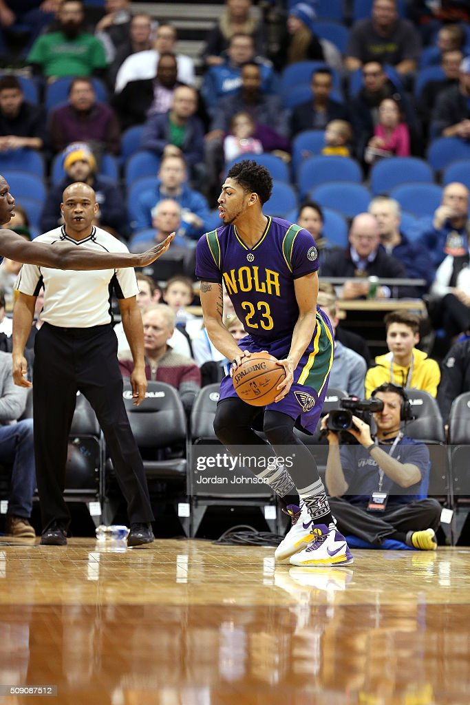 <a gi-track='captionPersonalityLinkClicked' href=/galleries/search?phrase=Anthony+Davis+-+Basketball+Player&family=editorial&specificpeople=9539354 ng-click='$event.stopPropagation()'>Anthony Davis</a> #23 of the New Orleans Pelicans handles the ball during the game against the Minnesota Timberwolves on February 8, 2016 at Target Center in Minneapolis, Minnesota.