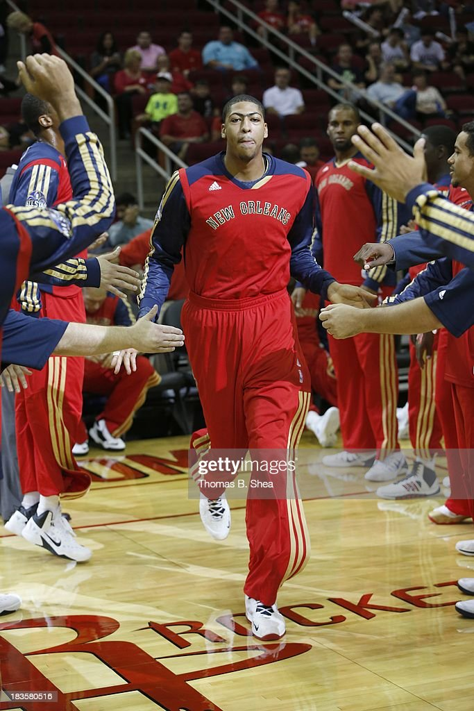 Anthony Davis #23 of the New Orleans Pelicans is introduced before playing against the Houston Rockets in a preseason NBA game on October 5, 2013 at Toyota Center in Houston, Texas. The Pelicans won 116 to 115.