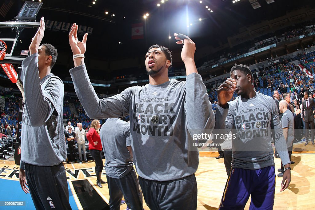 <a gi-track='captionPersonalityLinkClicked' href=/galleries/search?phrase=Anthony+Davis+-+Basketballer&family=editorial&specificpeople=9539354 ng-click='$event.stopPropagation()'>Anthony Davis</a> #23 of the New Orleans Pelicans is introduced before the game against the Minnesota Timberwolves on February 8, 2016 at Target Center in Minneapolis, Minnesota.